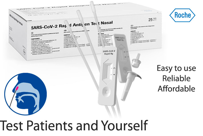 In the general practitioner's practice, at the dental practive or to protect vulnerable groups in clinics and hospitals - the antigen test from German manufacturer Roche can be used in a variety of ways to quickly obtain clarity about the infection status of people tested. The SARS-CoV-2 Rapid Antigen Test from Roche offers a fast and reliable response for both symptomatic and asymptomatic patients with regard to an acute SARS-CoV-2 infection. And that within 15 minutes, right at the test location. There is no need for a second appointment or long waiting times for the result. The result is usually available within 15 minutes. The rapid test helps to identify non-infected and infected people immediately. People who have tested positive know immediately and can thus help protect others. The rapid test can be used wherever a laboratory test is not available or a quick decision is necessary - regardless of location and efficiently. Easy and safe to use: A smear is sufficient - a smear from the nasopharynx serves as sample material. The smear is mixed with a buffer solution and a small amount is applied to a test strip. The result and a control strip are visible within 15 minutes and can be communicated to the tested person. High Accuracy: The test has a high sensitivity of 96.52% and a specificity of 99.68% and is therefore very reliable. For example, a good assessment of people with known contact with SARS-CoV-2 infected people can be carried out and the infection status can be determined with a high degree of accuracy.