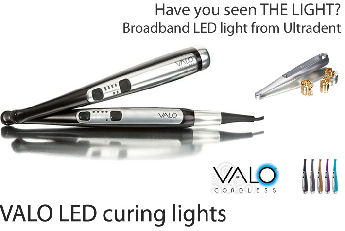 VALO is anything but your ordinary curing light. Its optimised power output, broad spectrum custom LEDs and precisely collimated beam provide consistent and uniform cures.  By offering three curing options (standard power, high power and a new plasma mode), VALO has the ability to cure all types of restorations with the touch of a button. With a three-second time cycle and built-in two-second safety delay, VALO�s plasma mode has been said to rival plasma arc lights in its level of rapid cure. Buy VALO products from Dental Domain in the Philippines, we deliver Ultradent quality at reasonable prices with the best available service for your dental practice needs.